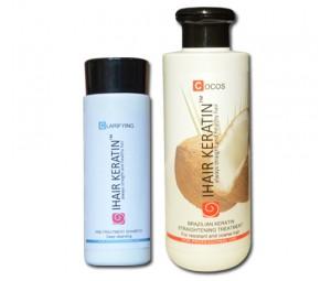 Kit Tratament keratina Ihair Keratin Cocos 250 ml+sampon degresant 100ml
