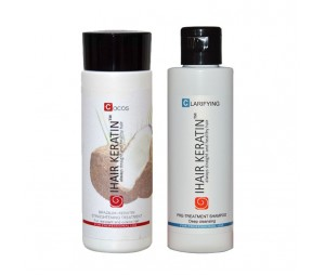 Kit tratament keratina Cocos+sampon clarifiant  Ihair Keratin 100ml