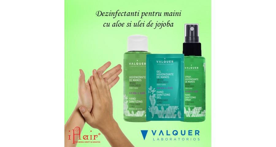 Dezinfectanti pentru maini cu aloe si ulei de jojoba de la Valquer