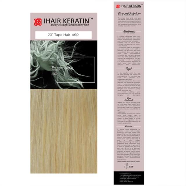 Extensii cu banda nr.60 -  Blond deschis Ihair Keratin