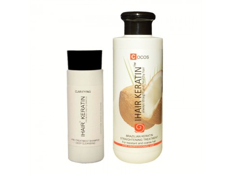 Kit Tratament keratina Ihair Keratin Cocos 250 ml+sampon degresant 100ml