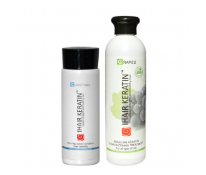 Kit tratament keratina BIO Grapes 250ml+sampon clarifiant 100ml  Ihair Keratin