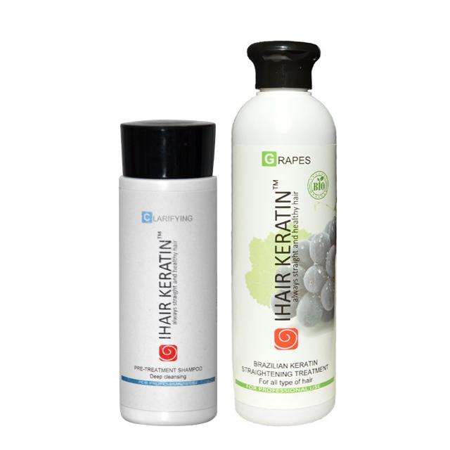 Kit tratament keratina BIO Grapes 250ml+sampon clarifiant 100ml Ihair Keratin