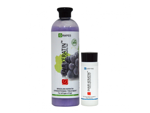 Kit tratament keratina BIO Grapes 500ml+sampon clarifiant 100ml  Ihair Keratin