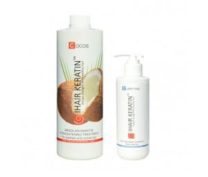 Tratament keratina indreptare Cocos 1000ml + Sampon Clarifiant Ihair Keratin 250ml