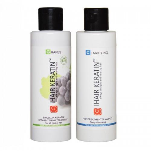 Kit tratament keratina BIO Grapes+sampon clarifiant Ihair Keratin 100ml