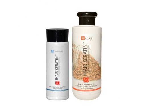 Kit Tratament keratina Cacao 250 ml+sampon clarifiant 100 ml  Ihair Keratin