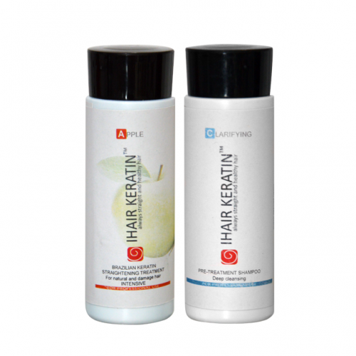Kit tratament keratina Apple+sampon clarifiant Ihair Keratin 100ml