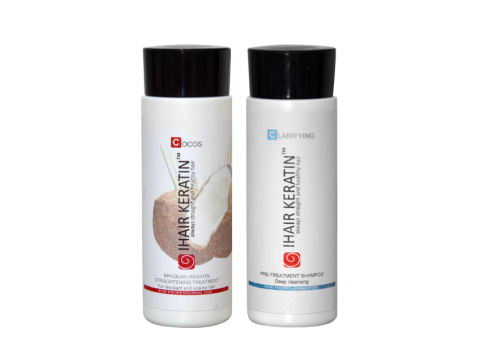 Tratament keratina Kit Cocos 100ml, sampon degresant 100ml