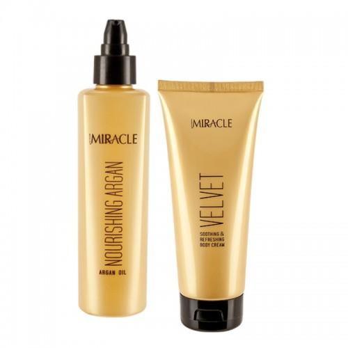 Set Promotional Ulei reparator argan Miracle +  Crema calmanta Velvet Maxxelle 200ml