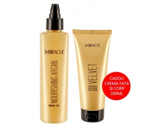 Set Promotional Ulei reparator argan Miracle + Cadou Crema calmanta Velvet Maxxelle 200ml