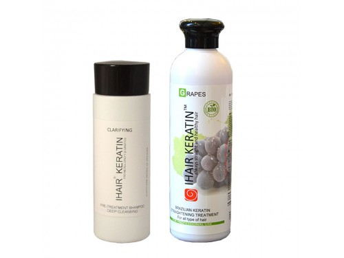 Tratament keratina KIT bio IHAIR KERATIN GRAPES 250ML+ sampon clarifiant 100ml